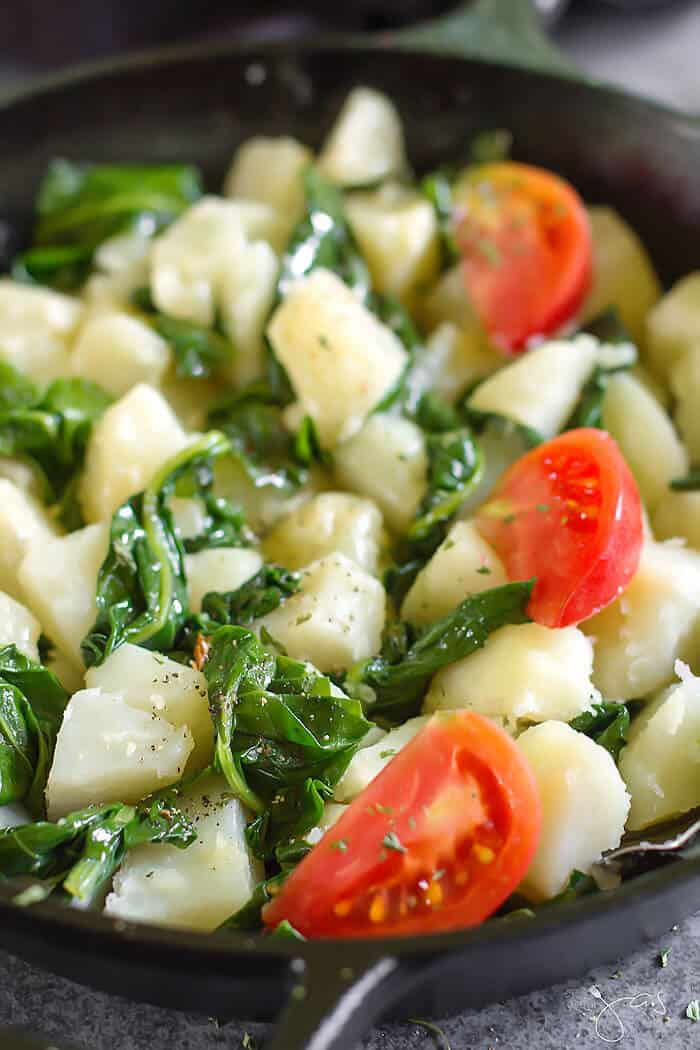 Easy vegan and vegetarian side dish made with swiss chard and potatoes is done quickly.