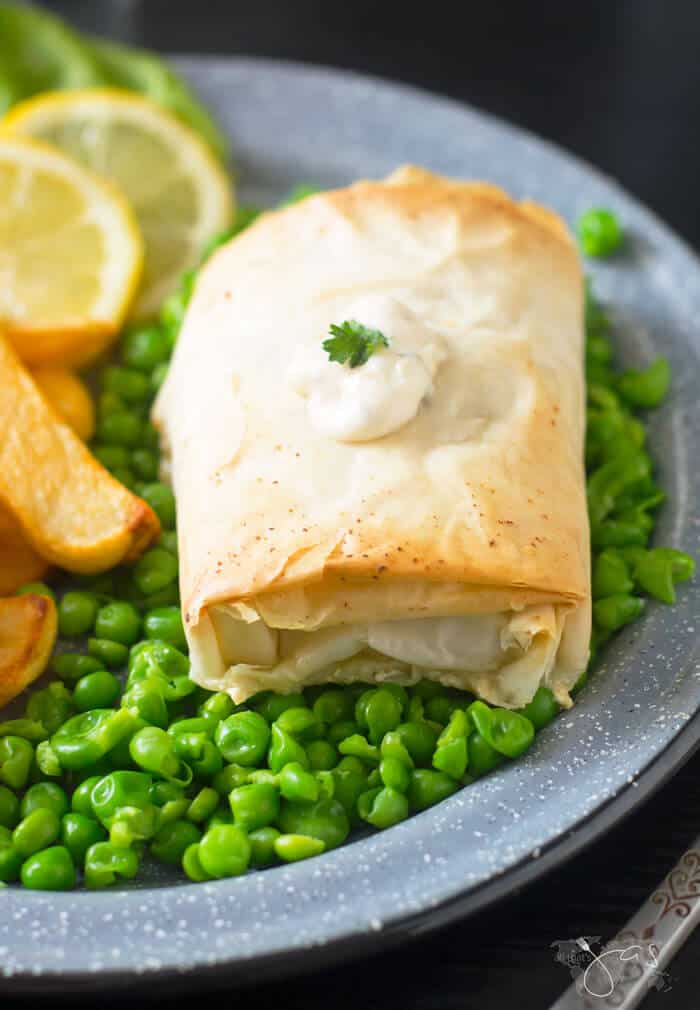 Delicious fillo pastry wrapped cod fish and French Fries