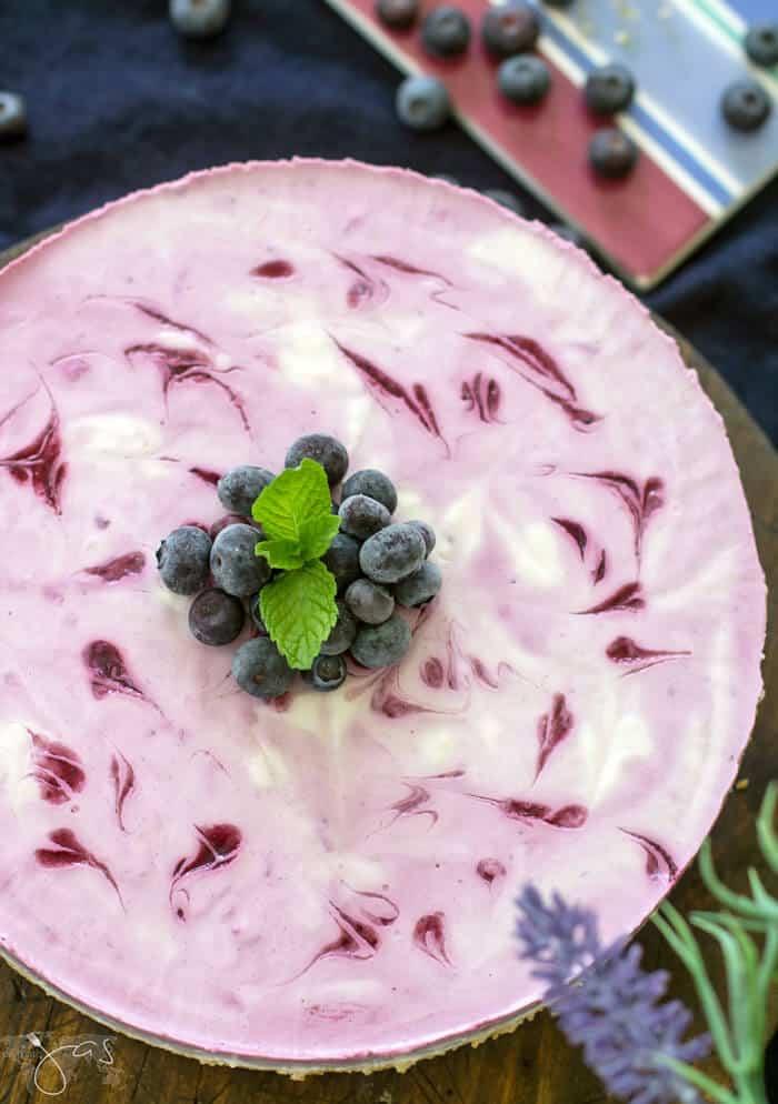 Delicious blueberry no bake cheesecake with kefir
