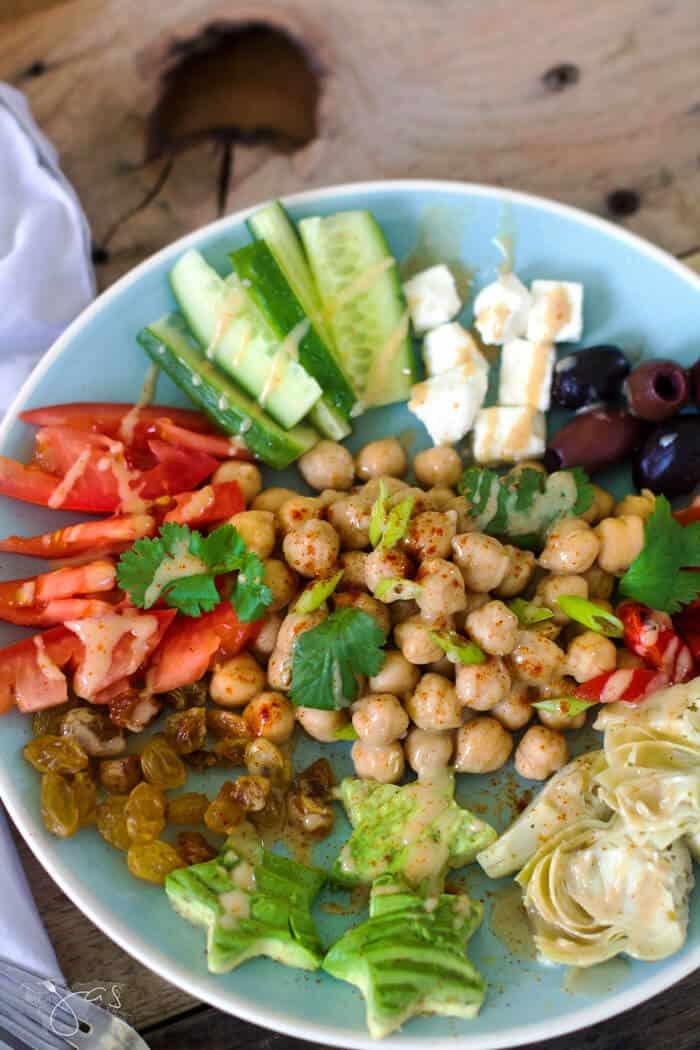 Garbanzo salad from Lebanon with tahini