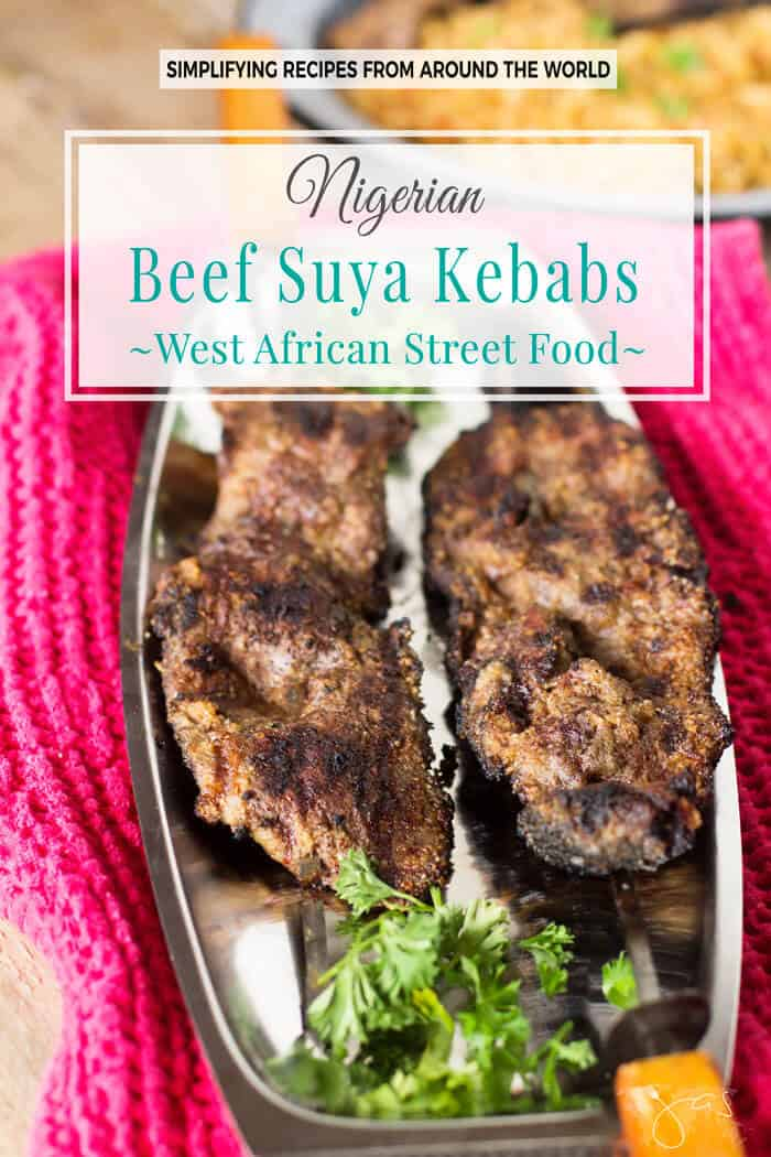 Popular street food in West Africa, the Nigerian beef kebabs, aka suya are rubbed in spicy peanut mixture and grilled to perfection.