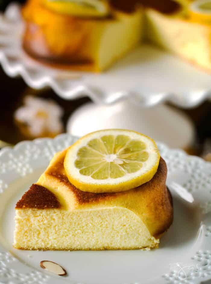 A slice of fiadone, Corsican cheesecake with lemon