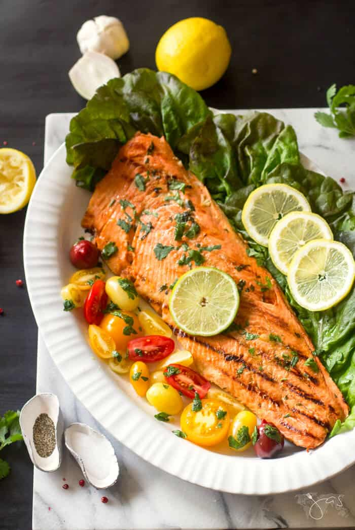 Delicious recipe for marinated salmon grilled to perfection, Cuban-style.