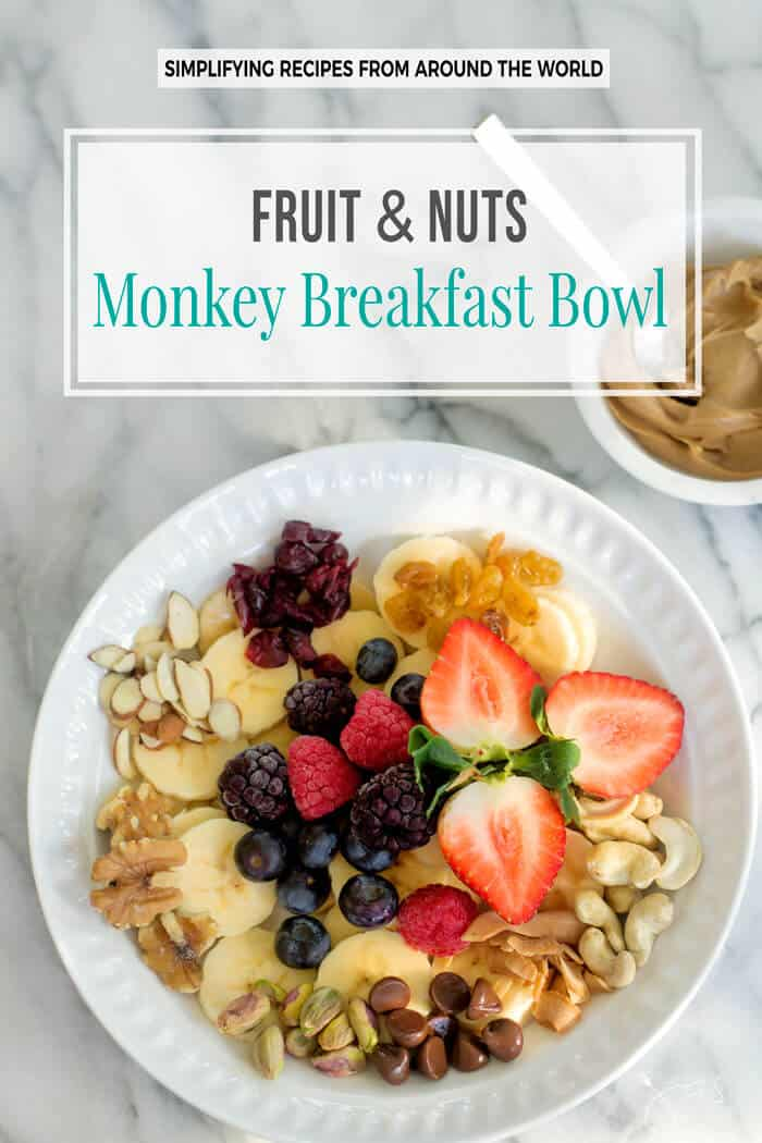 This fruit and nuts monkey breakfast bowl is loaded with nutritious ingredients and it's a healthy option that adults and kids can agree upon.