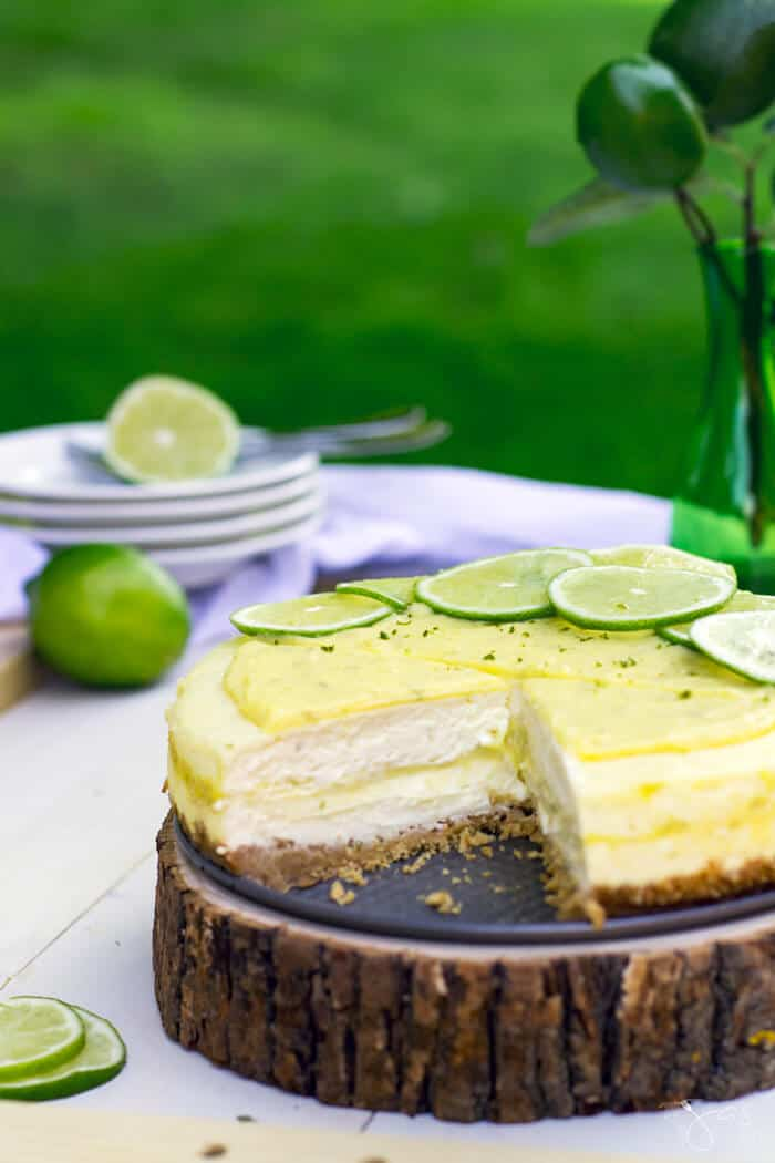 Creamy, sweet and tart, this key lime ribbon cheesecake is the queen of summer desserts.