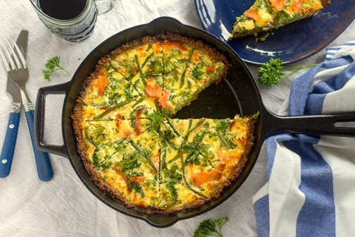 Swedish Smoked Salmon Quiche with gluten free crust - All that's Jas