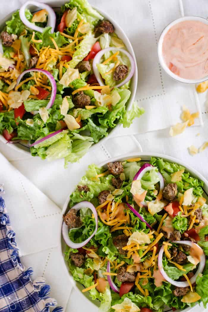 Amazing recipe for a salad using leftover hamburgers and a homemade dressing #BBQ # salad #leftover #cheeseburger #glutenfree #quick #easy #recipeofthemonth #grilling