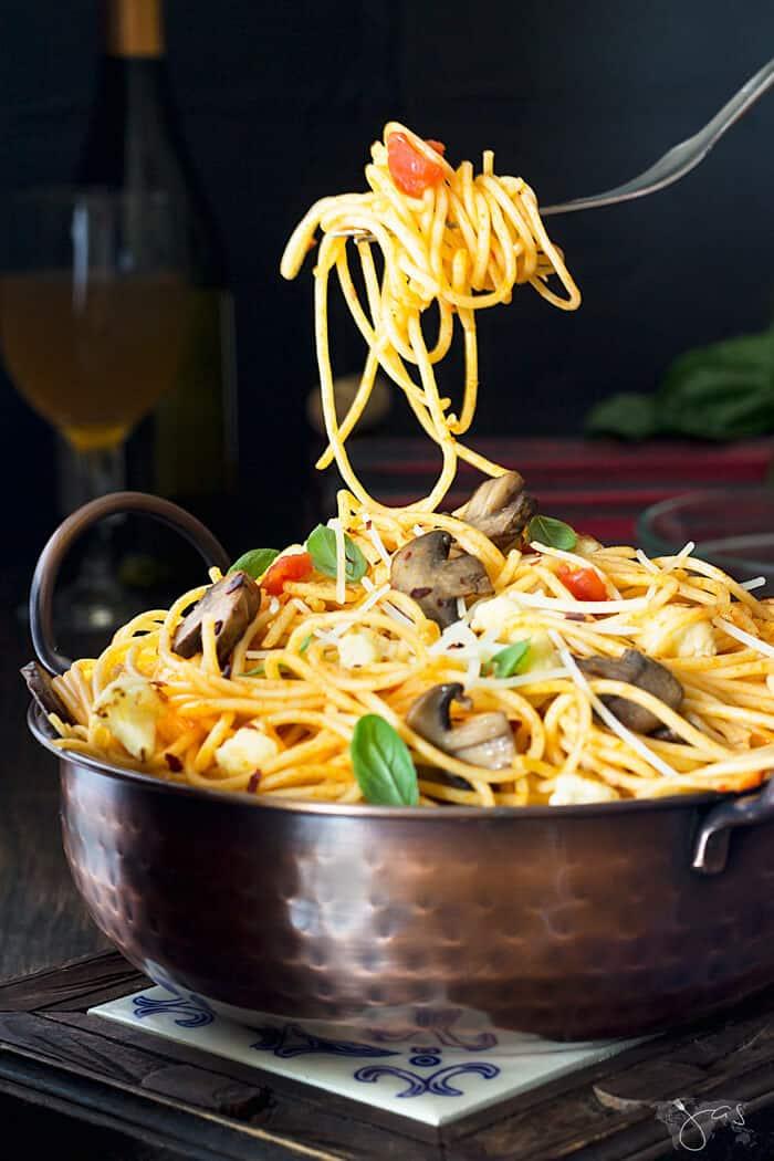 Italian pasta with mushroom and cauliflower