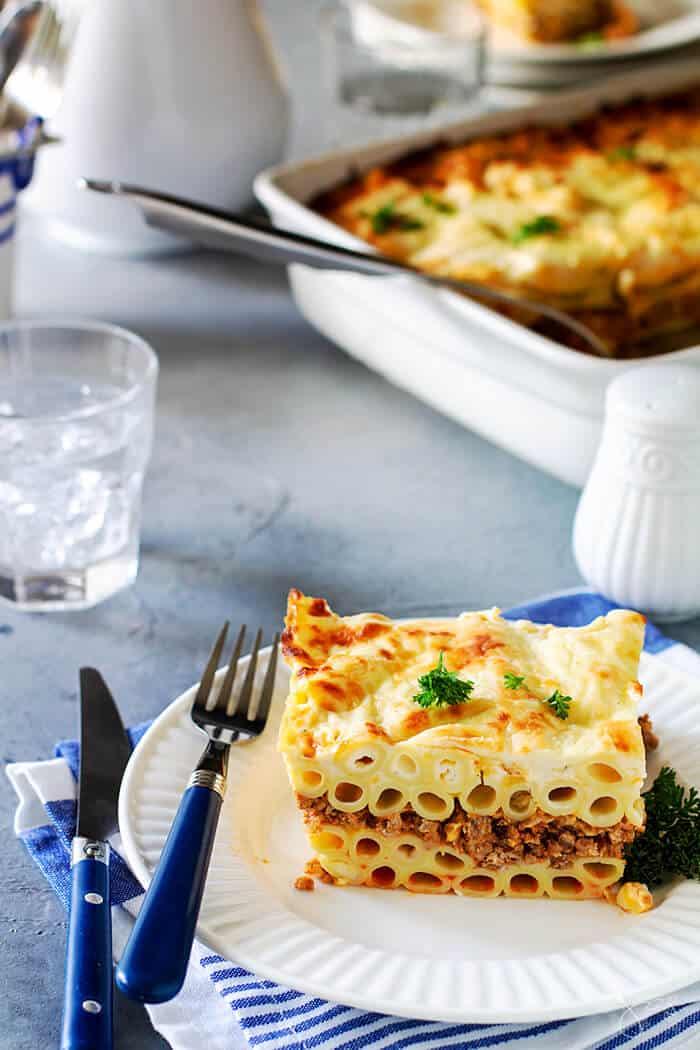 Delicious recipe for Greek pasta lasagna