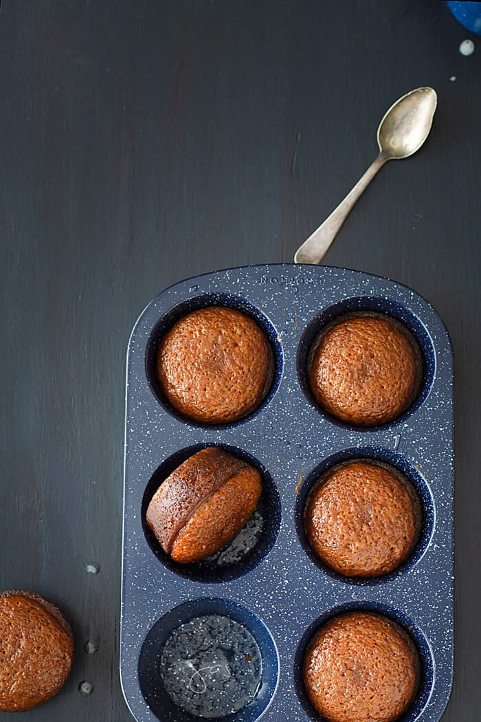 Delicious malva pudding baked in muffin pan