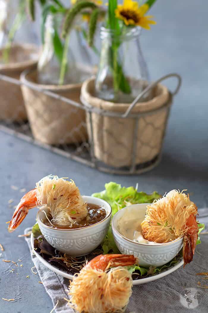 Crispy kataifi coated spicy shrimp recipe.