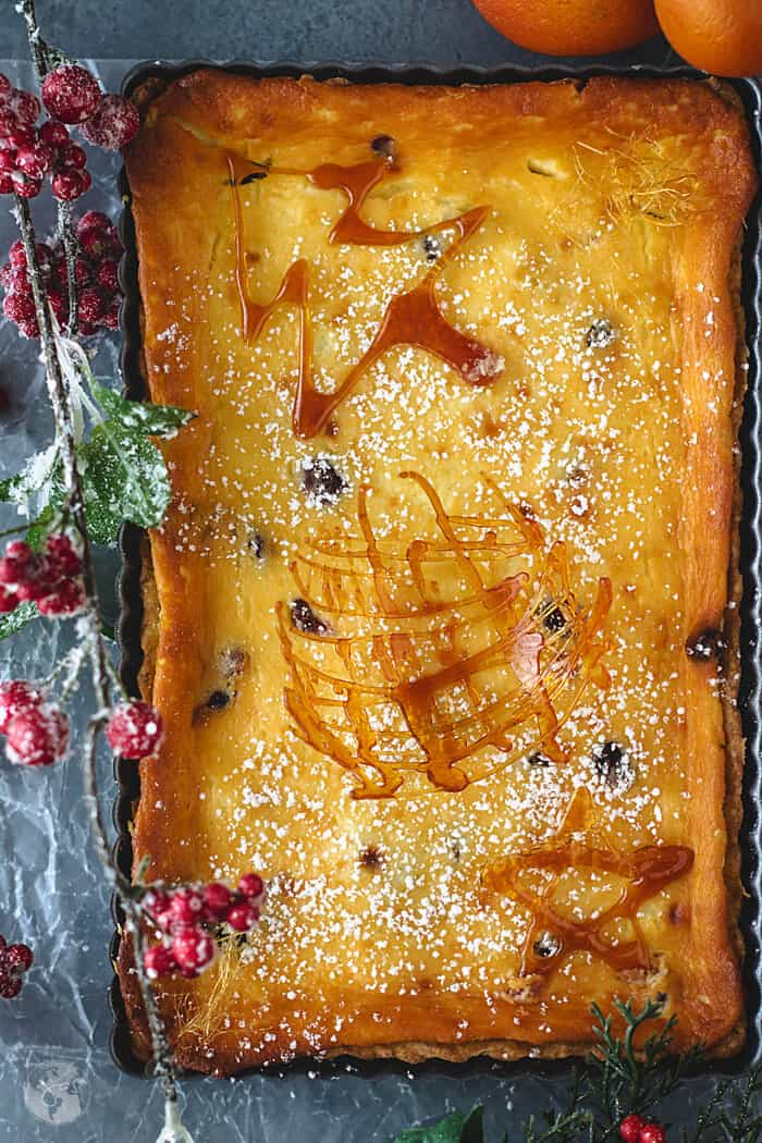 Creamy and delicious, cranberry orange tart German recipe.