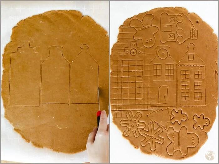 Scoring the gingerbread village into the dough