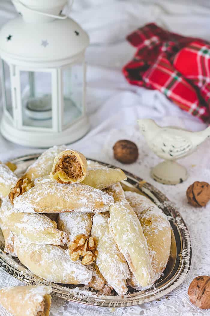 These polish crescent cookies are filled with a yummy spiced mixture.