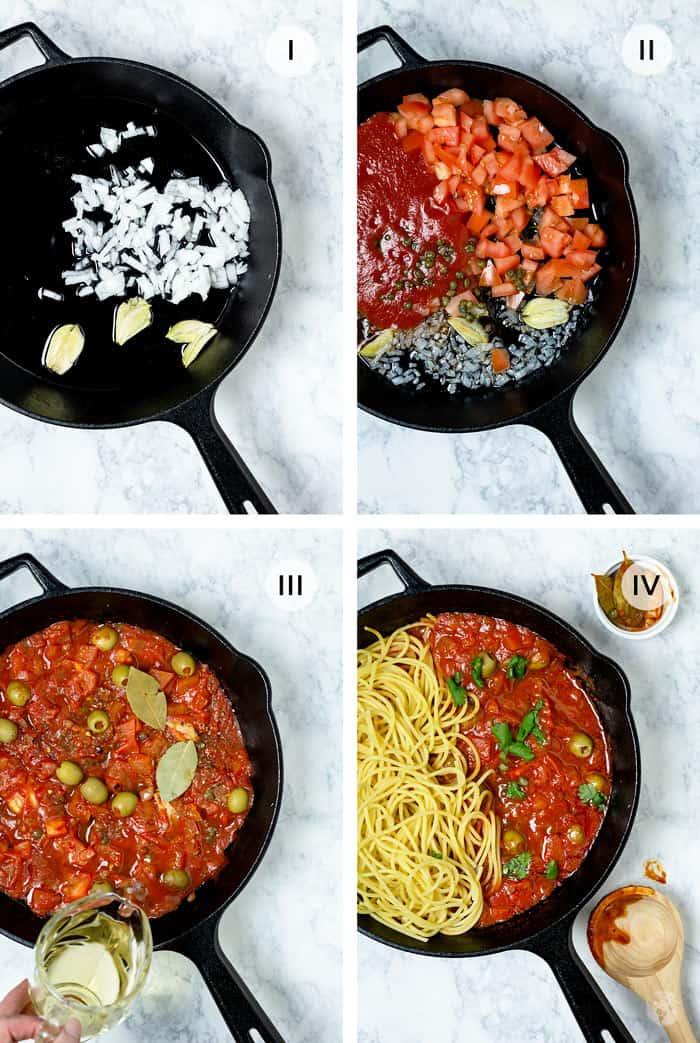 Four steps of making the Veracruz sauce.