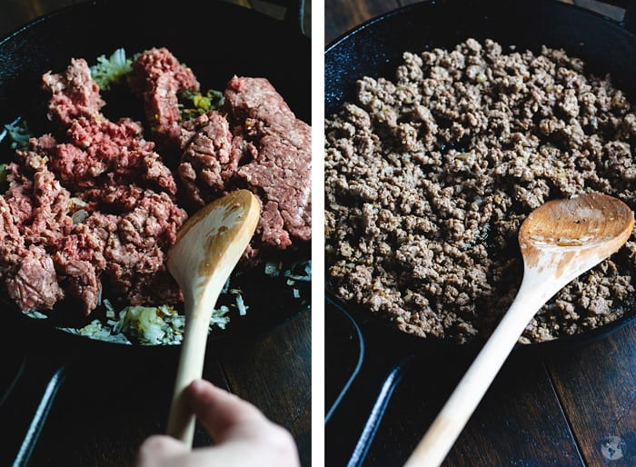 Step one and two of browning the ground lamb with onions and garlic.
