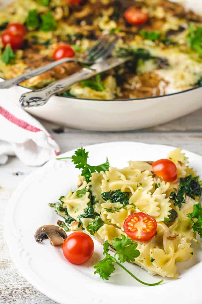 Comfort dish of noodles, eggs, and vegetables.