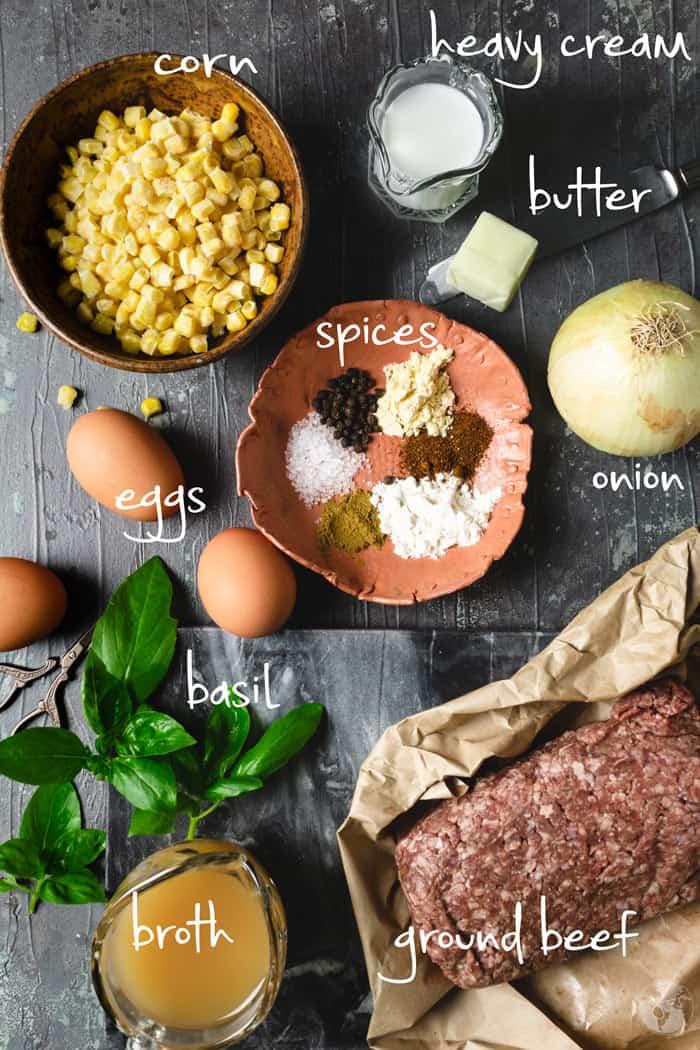 Ingredient list for Pastel de Choclo