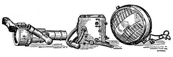 Ночной прибор механика-водителя БВН в комплекте с блоком питания и фарой ФГ-10 (ФГ-100)