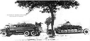 Для перевозки Pz.II использовались автомобили Faun и двухосные прицепы