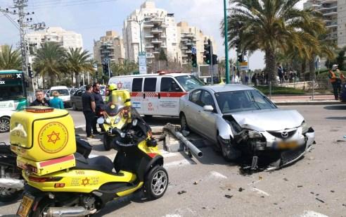 הולכת רגל נפגעה מרכב בשדרות ירושלים בקרית ים