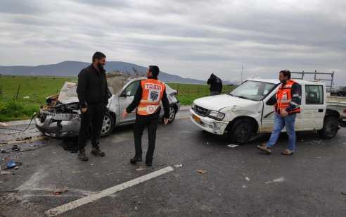 תאונה עם מעורבות שני כלי רכב אירעה בסמוך לצומת הכניסה לגוש חלב