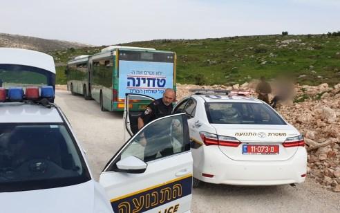 עירנות אזרחים הביאה לעצירת גנב אוטובוס שהשתולל על כביש 60 וסיכן נהגים