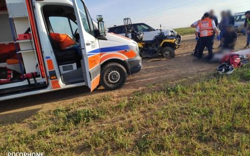 2 פצועים בתאונה בין טרקטורון לג'יפ בין חוות פיליפ למחלף מאחז במקביל לכביש 40