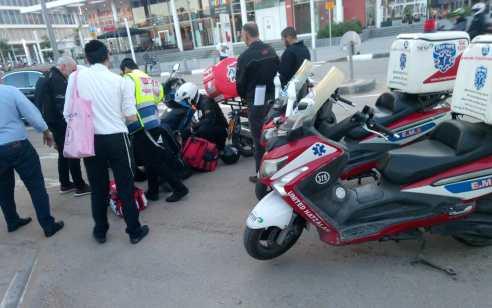 רוכב אופנוע נפצע בינוני בתאונה בסמוך למגדלי ב.ס.ר בבני ברק