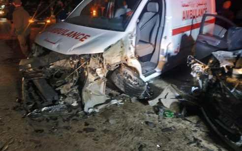 שבעה נפגעים בתאונה עם מעורבות 2 רכבים ואמבולנס פלסטיני בסמוך למושב מחולה
