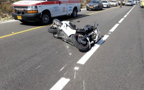 רוכב אופנוע החליק בכביש 4775 מרחלים לאריאל – מצבו בינוני