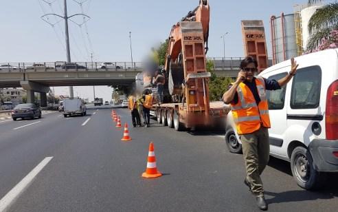 שבוע אחרי באותו מקום: משאית פגעה בגשר הולכי רגל בר אילן
