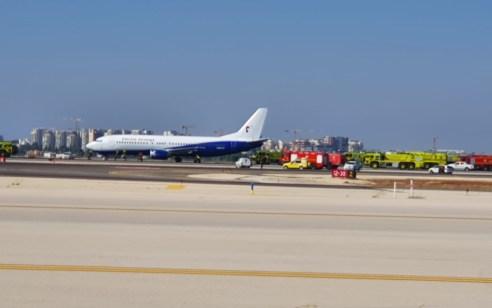 """דרמה בנתב""""ג: מטוס שהמריא מגרמניה עם צמיג קרוע נחת בשלום"""