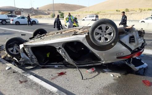 הקטל בכבישים: שני הרוגים ופצוע קשה בהתהפכות רכב בכביש 1 סמוך למצפה יריחו