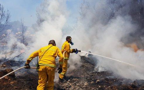 תיעוד: 15 צוותי כיבוי וארבעה מטוסים פעלו בשריפת יער בין היישובים בית מאיר לשורש