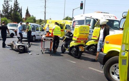 רוכב אופנוע כבן 30 נפצע קשה בתאונה עם רכב בכביש 44 סמוך למחלף השבעה