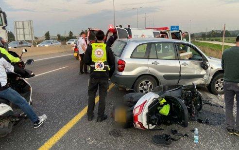 רוכב אופנוע כבן 35 נפגע מרכב בכביש 471 ממחלף שעריה לכיוון נחשונים – מצבו בינוני