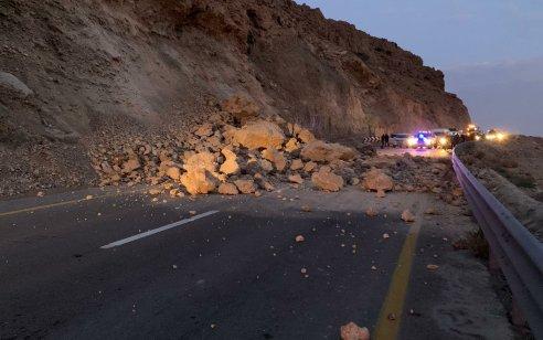 כביש 31 מערד לים המלח נסגר לתנועה בעקבות התמוטטות של חלק מההר