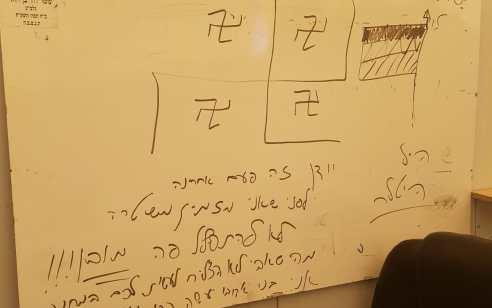 כתובות נאצה וצלבי קרס נכתבו על בית מדרש בכפר סבא – המשטרה פתחה בחקירה
