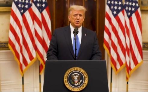 """טראמפ בנאום פרידה: """"השבוע יושבע ממשל חדש – נתפלל עבור הצלחתו"""""""