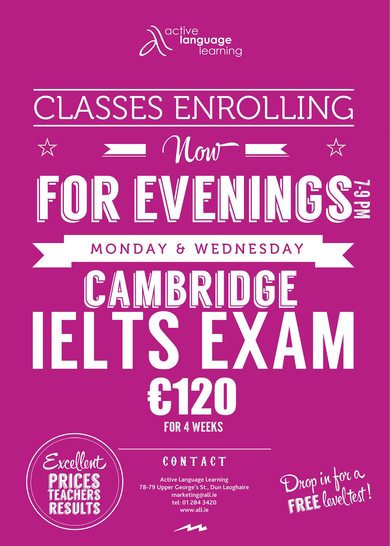 IELTS Exam Preparation Evening Class Now Enrolling