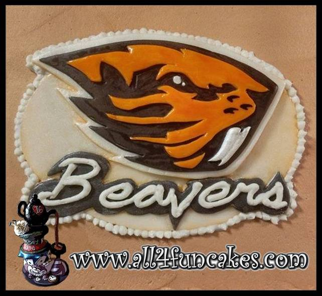 2D Sculpted Cake Topper by All4Fun Cakes (Oregon State Beavers Copyright Permission Granted)