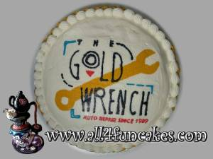 Business Logo Buttercream Transfer Cake by All4Fun Cakes