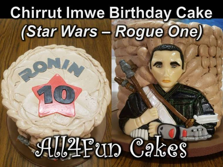 Chirrut Imwe Birthday Cake Topper Tutorial - All4Fun Cakes