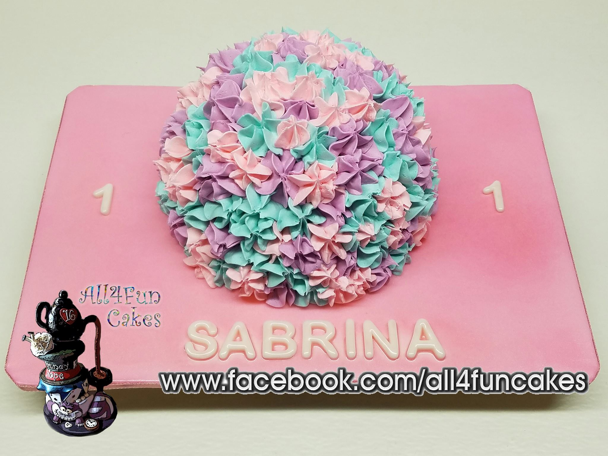 Pastel Flowers Smash Cake by All4Fun Cakes