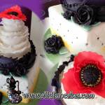 Ruffles and Quilt Pattern Wedding Anniversary Birthday Cake with Red Poppy and Black Roses - All4Fun Cakes LLC