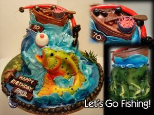 Chocolate with Raspberry Filling Sculpted Fishing Birthday Cake by All4Fun Cakes