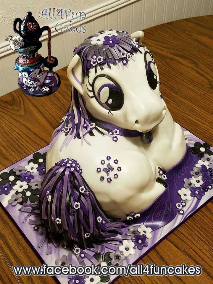 Sculpted Purple Pony Birthday Cake by All4Fun Cakes