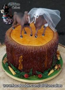 Tree Stump with Ammo Wedding Cake by All4Fun Cakes (Toppers provided by Bride)