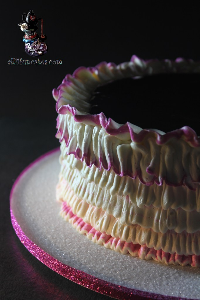 Raspberry Cheesecake Dessert Cake with Fruity Raspberry Filling and Cheesecake Buttercream Ruffles by All4fun Cakes
